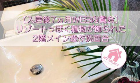 【入居後7ヵ月WEB内覧会】リゾートっぽく植物が飾られた2階メイン造作洗面台