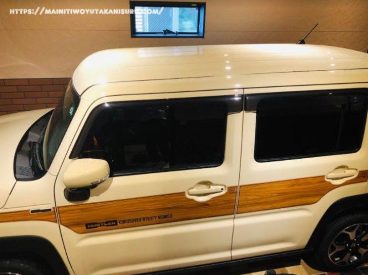 新型ハスラー(MR52S)に純正マッドフラップ・ドアバイザ―、そして白ナンバー装着!