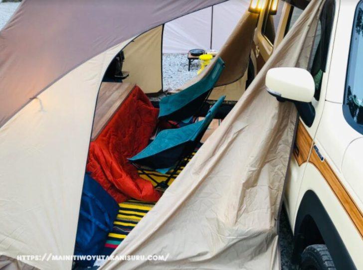 新型ハスラー(MR52S)×こたつ冬オートキャンプ(車中泊)はこんな感じ