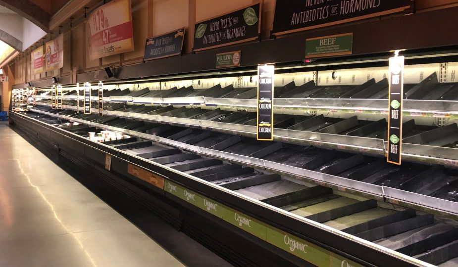 Empty grocery shelves during coronavirus pandemic