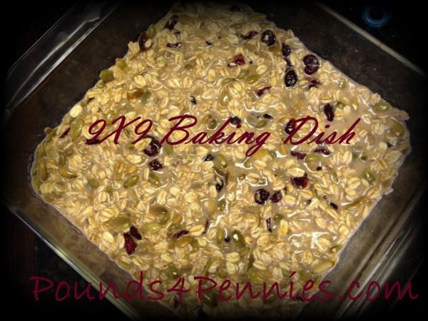 Baked oatmeal bars baking dish