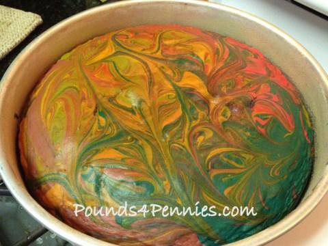 Tie Dye Cake in Pan