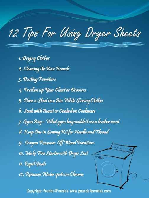 12 Tips for using dryer sheets