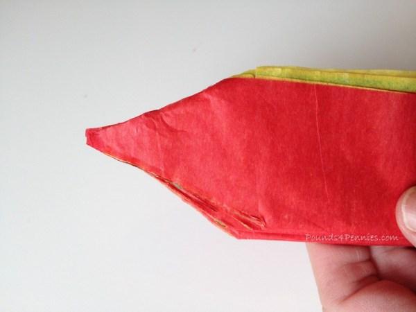 Cut tissue paper for turkey tail tissue ball