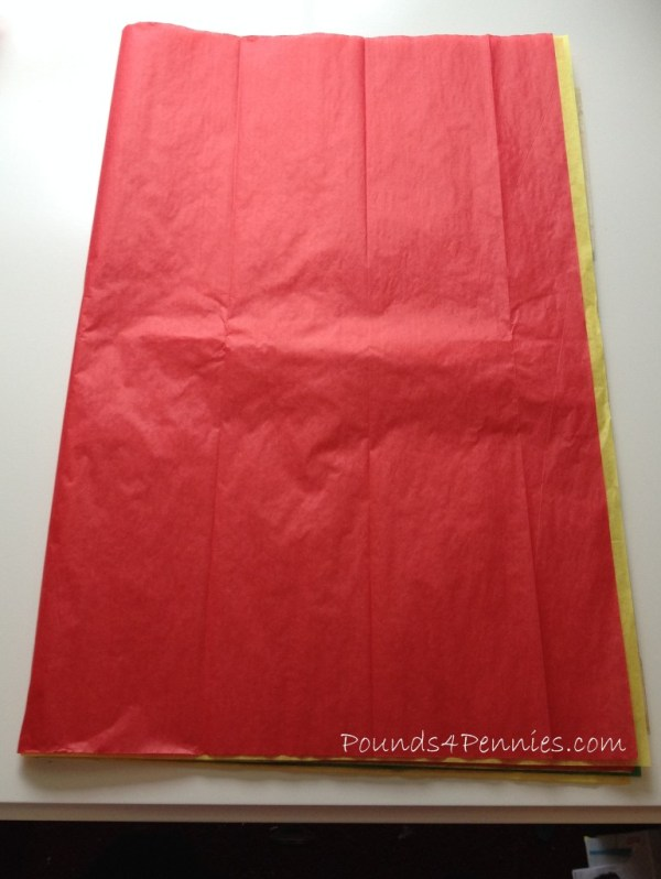 Folded tissue paper for Turkey craft tail