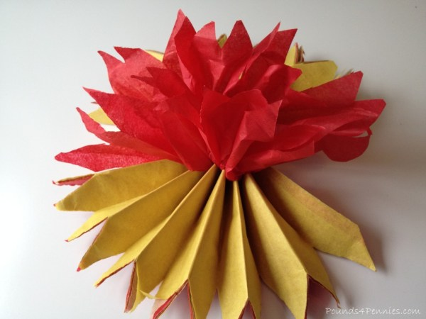 Folded up tissue paper for turkey craft