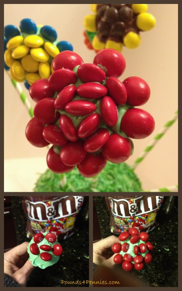 Rose Flower Cake Pops with M&Ms #shop