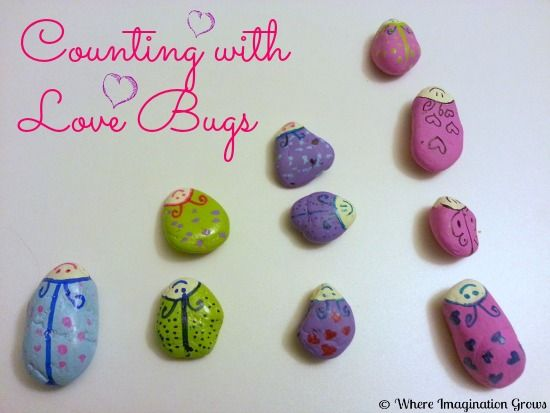 Counting & Sorting DIY Love Bug Rocks : Where Imagination Grows
