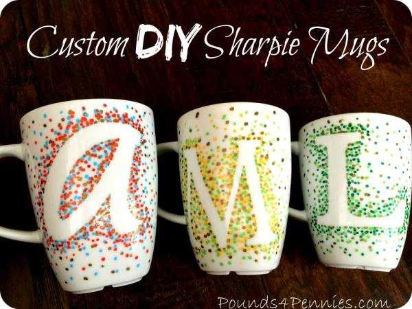 Custom DIY Sharpie Mugs Dot Design by Pounds4Pennies