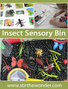 Insect sensory bin spring activities for kids