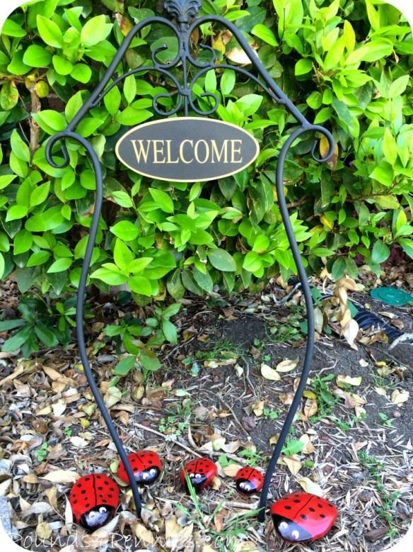 Finished Ladybug rock garden family