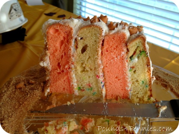 four layered cake construction cake