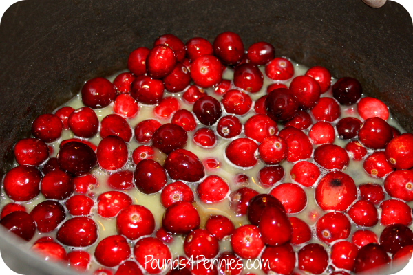 homemade cranberry sauce and orange juice in pot