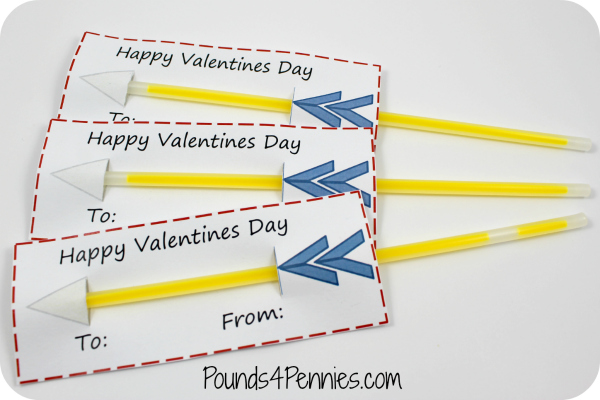 Easy Glow Stick Valentines day cards