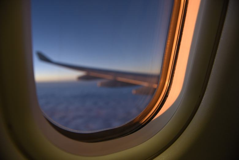 Airplane Window Sunset