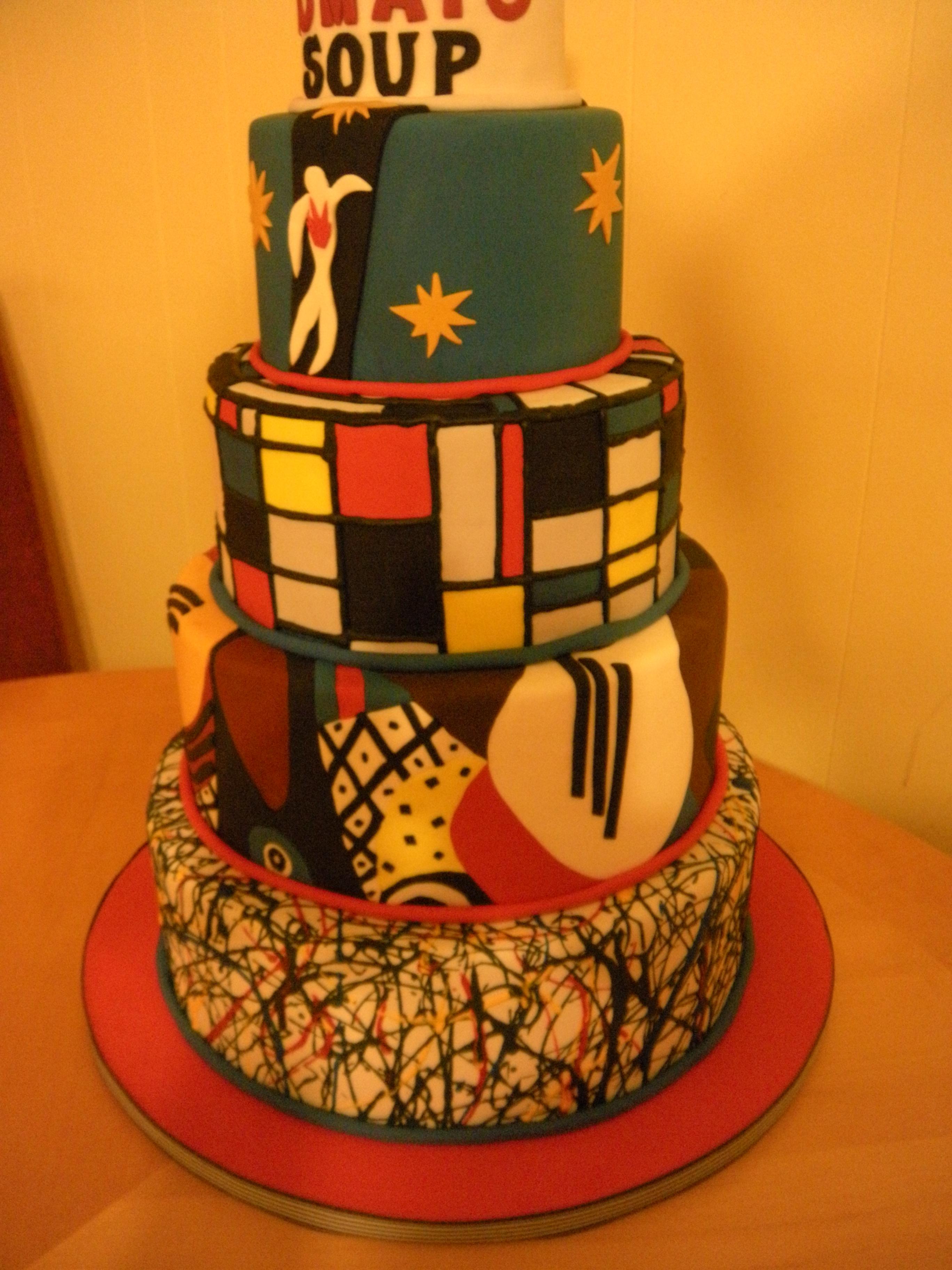 Artsy Fartsy Cake Inspired By Pollock Picasso Mondrian