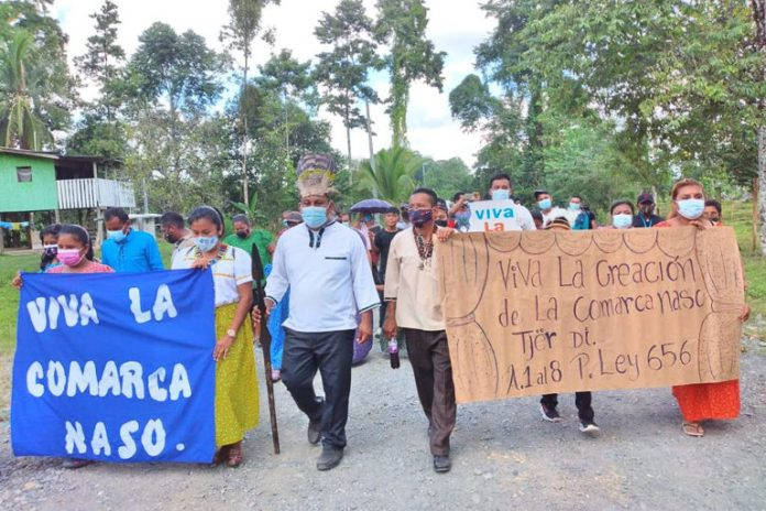 The Naso celebrating the Supreme Court's decision allowing the creation of their comarca. Image courtesy of the National Coordinator of Indigenous Peoples in Panama (COONAPIP).