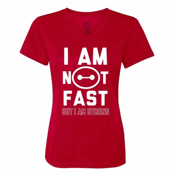 I-am-not-fast-ladies-performance-vneck-red-