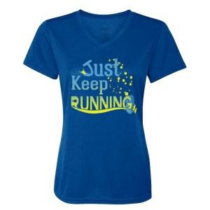 Just-keep-running-ladies-performance-vneck-royal-blue