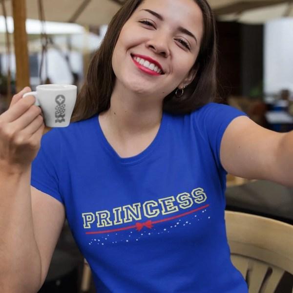 Princess-Fairest-of-them-all-unisex-cotton-poly-crew-royal-model