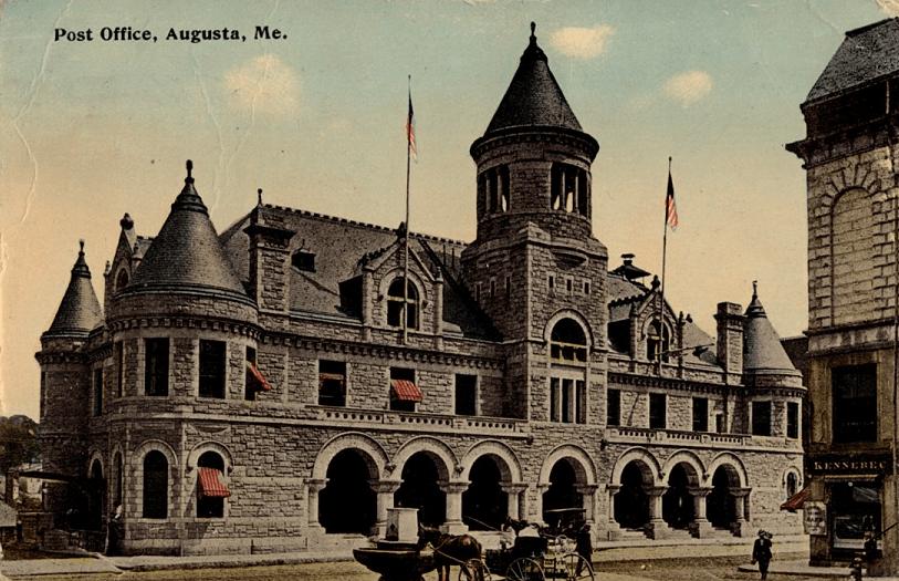 Postcard Old Post Office Augusta Maine