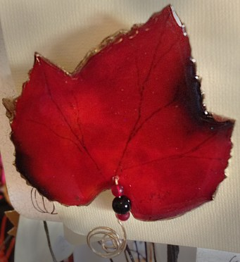 Stunning autumn-leaf pins by Debbie Griffith.