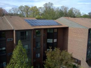 solar array on apartment building