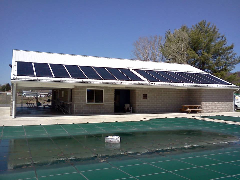 solar public pool heating system