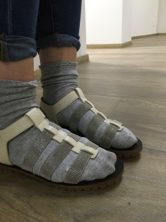 The latest in trends: socks with sandals.