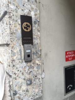 The Gucci plaque in Milan.