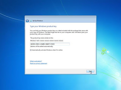 Memasukkan Product Key Windows 7