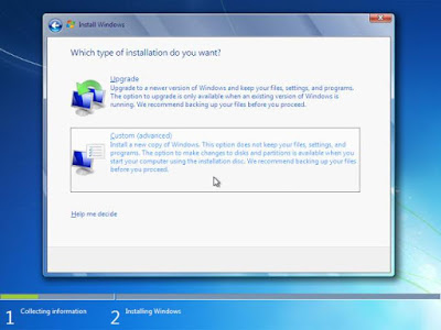Memilih jenis instalasi Windows 7
