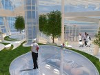 Hyperlapse: Interior view of 'Parkland' theme zone. Organic shaped glazed flooring allows Natural light from the glazed roof, and passengers views to penetrate down to different levels.