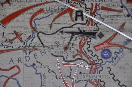 Kaartje van het Ardennenoffensief (Amerikaanse Militaire Begraafplaats Margraten)
