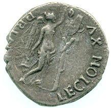 Munt van het Gallische keizerrijk ter herdenking van het overlopen van XVI Gallica (Ashmolean Museum, Oxford)