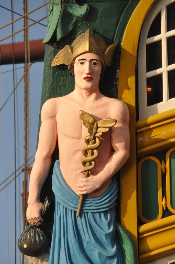 """Boegbeeld van het gereconstrueerde VOC-schip """"Amsterdam"""""""