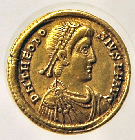 Theodosius (munt uit het Valkhofmuseum in Nijmegen)