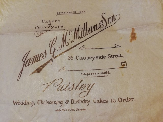 One of the paper bags from my grandfather's shop which closed in 1966. The name is actually my great-grandfather's and yes, the spelling has changed!