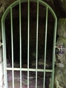 Looking through the rounded arched doorway in the stone wall. There is a green metal railing stopping visitors from going inside. It's mostly dark but the ice-house has a rough earthen floor with occasional flat stones which may have been the stone floor in the distant past.