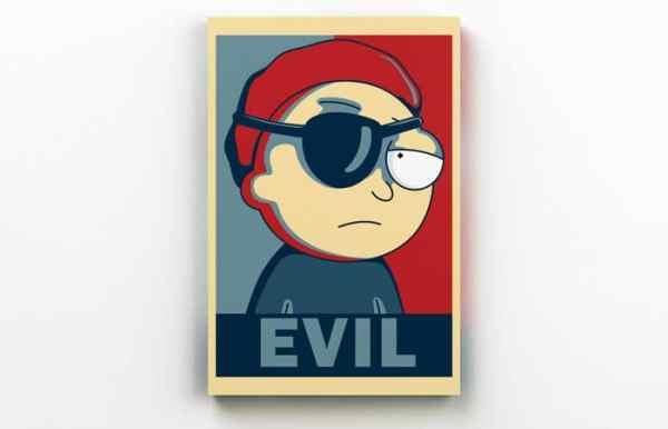 Placa Decorativa de Metal Morty Evil