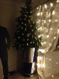 Typical student Christmas tree. Chris Pratt has made his appearance once again, guarding the presents perhaps?