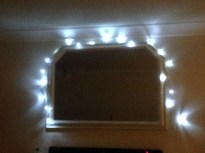 Lights twinkling around my proudly found bargain mirror from a Norwich second hand shop earlier this year.