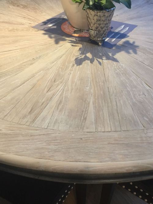 Large Circular Elm Parquet Top Dining Table