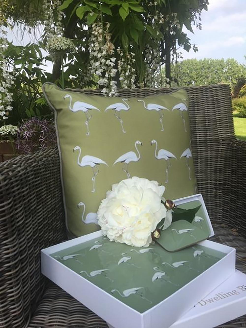 Olive Flamingo Cushion