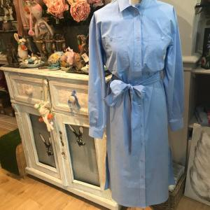 Blue Shirt Dress with Bow Tie Belt