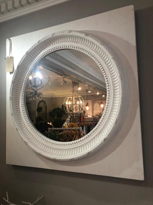 White Painted Ornate Circular Mirror