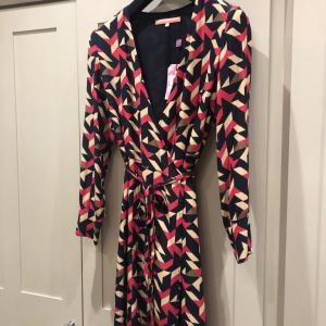 Multi Coloured Geometric Tie Front Wrap Dress