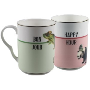 Yvonne Ellen Bonjour and Happy Hour Mugs, Set of 2