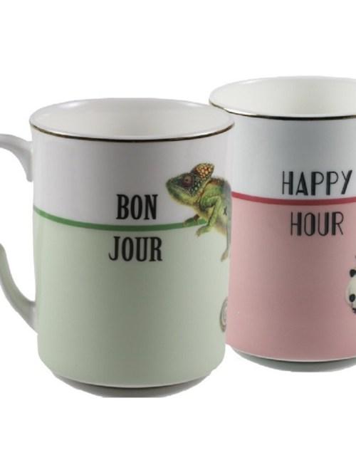 Yvonne Ellen Bonjour and Happy Hour Mugs, Set of 2