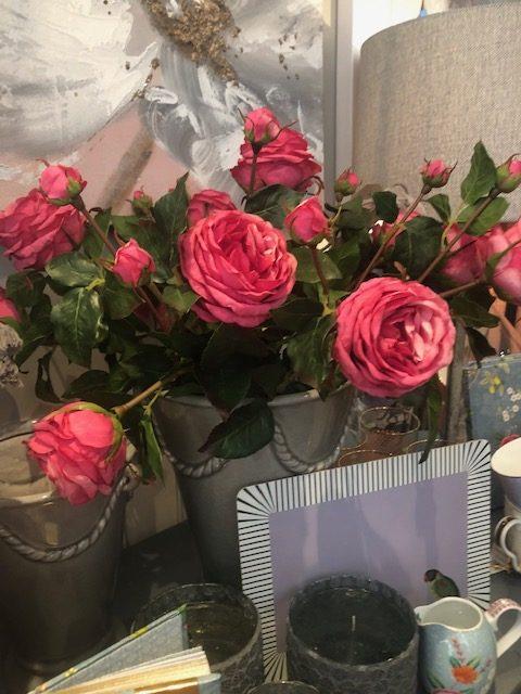 Pink Artificial Roses in Grey Decorative Vase